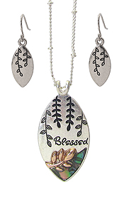 RELIGIOUS INSPIRATION ABALONE PENDANT NECKLACE SET - BLESSED