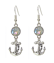 ANCHOR AND MERMAID SCALE EARRING