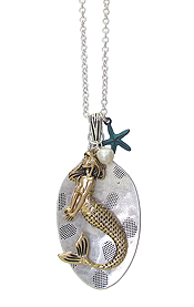 SPOON HEAD AND MERMAID PENDANT LONG CHAIN NECKLACE