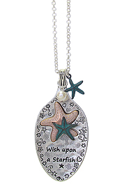 SPOON HEAD AND STARFISH PENDANT LONG CHAIN NECKLACE - WISH UPON A STARFISH