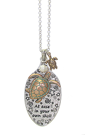 SPOON HEAD AND TURTLE PENDANT LONG CHAIN NECKLACE - AT EASE IN YOUR OWN SHELL
