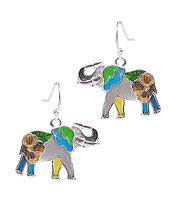 MULTI COLOR EPOXY EARRING - ELEPHANT