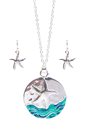 SEALIFE THEME DISC PENDANT NECKLACE SET - STARFISH