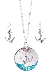 SEALIFE THEME DISC PENDANT NECKLACE SET - ANCHOR
