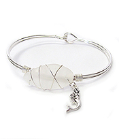 WIRE WRAP SEA GLASS BANGLE BRACELET - MERMAID