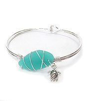 WIRE WRAP SEA GLASS BANGLE BRACELET - TURTLE