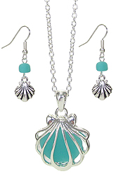 FLOATING SEA GLASS PENDANT NECKLACE SET - SHELL