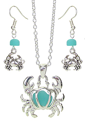 FLOATING SEA GLASS PENDANT NECKLACE SET - CRAB