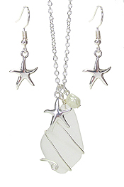 WIRE WRAP SEA GLASS AND PEARL PENDANT NECKLACE SET - STAR FISH