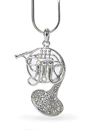 WHITEGOLD PLATING CRYSTAL MUSIC THEME HORN PENDANT NECKLACE