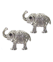 WHITEGOLD PLATING CRYSTAL ELEPHANT EARRING