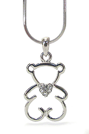 WHITEGOLD PLATING CRYSTAL SIMPLE BEAR PENDANT NECKLACE