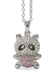 WHITEGOLD PLATING RACCOON PENDANT NECKLACE