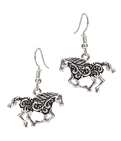 TEXTURED HORSE EARRING