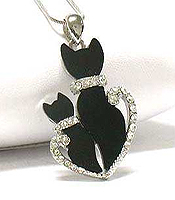 WHITEGOLD PLATING CRYSTAL AND ACRYL DECO DUAL CAT PENDANT NECKLACE