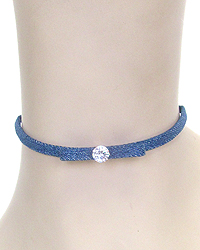 CRYSTAL CENTER BOW DENIM CHOKER NECKLACE