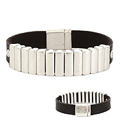 MULTI METAL BAR AND FAUX LEATHER MAGNETIC BRACELET