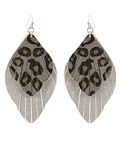 FAUX LEATHER FRINGE ANIMAL PRINT EARRING