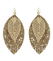 FAUX LEATHER FRINGE AND METAL FILIGREE DOUBLE LAYER EARRING