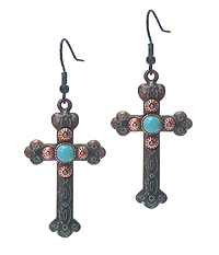 NAVAJO TEXTURED CROSS EARRING