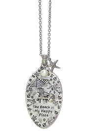 SEALIFE INSPIRATION MESSAGE ON SPOON HEAD PENDANT AND LONG CHAIN NECKLACE - THE BEACH IS MY HAPPY PLACE