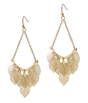 METAL FILIGREE MULTI LEAF DANGLE DROP EARRING