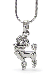 WHITEGOLD PLATING CRYSTAL  POODLE DOG PENDANT NECKLACE