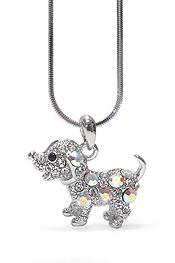 WHITEGOLD PLATING CRYSTAL DOG NECKLACE