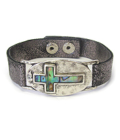 ABALONE CROSS AND LEATHER BAND BRACELET