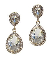 CRYSTAL AND FACET GLASS TEARDROP EARRING
