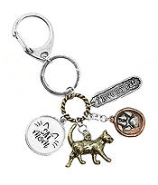 PET LOVERS INSPIRATION MULTI CHARM CABOCHON KEY CHAIN - CAT MOM