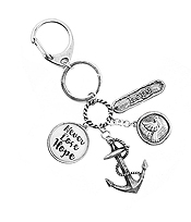 RELIGIOUS INSPIRATION MULTI CHARM CABOCHON KEY CHAIN - NEVER LOSE HOPE