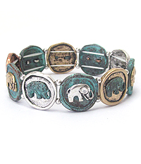 MULTI ELEPHANT DISK STRETCH BRACELET