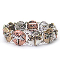 MULTI DRAGONFLY DISK STRETCH BRACELET