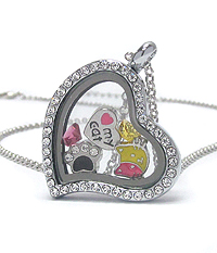 ORIGAMI STYLE FLOATING CHARM HEART LOCKET PENDANT NECKLACE - CAT - LOCKET OPENS AND CHARMS INCLUDED