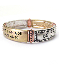 RELIGIOUS INSPIRATION MESSAGE STRETCH BRACELET - BE STILL Psalm 46:10