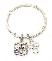 RELIGIOUS INSPIRATION CROSS ANCHOR CHARM MESSAGE STRETCH BRACELET - FAITH HOPE LOVE