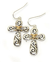 METAL FILIGREE CROSS EARRING