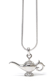 WHITEGOLD PLATING CRYSTAL STUD GENIE LAMP PENDANT NECKLACE