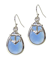 ANCHOR AND TEARDROP FACET STONE EARRING
