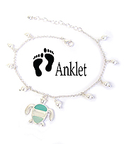 SEALIFE THEME SEA GLASS AND MULTI PEARL ANKLET - TURTLE