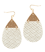 TEXTURED LEATHER AND METAL TEARDROP EARRING