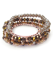 MULTI FACET GLASS BEAD 4 LAYER STRETCH BRACELET