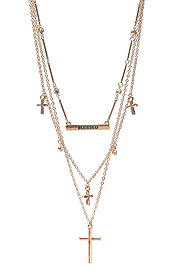 MULTI CROSS CHARM AND PENDANT TRIPLE LAYER NECKLACE