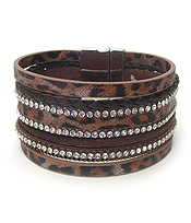 ANIMAL FUR AND LEATHER MULTI LAYER MAGNETIC BRACELET