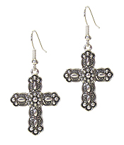 DESIGNER TEXTURED CROSS EARRING