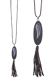 LEATHER TASSEL AND PENDANT LONG NECKLACE - ANGEL WING