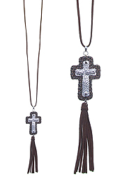 LEATHER TASSEL AND PENDANT LONG NECKLACE - CROSS