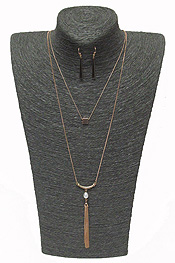 2 LAYER METAL TASSEL DROP NECKLACE SET