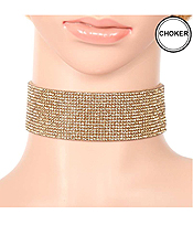 RHINESTONE ON LEATHER BAND CHOKER NECKLACE